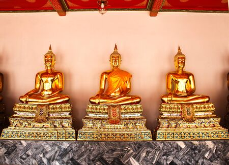 po: Buddha in Wat Pho Temple sequential nicely in Bangkok, Thailand.
