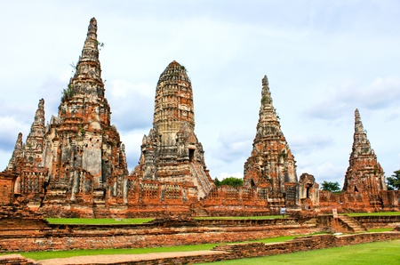 pinnacle: Wat Chaiwatthanaram Temple. Ayutthaya Historical Park, Thailand. Stock Photo