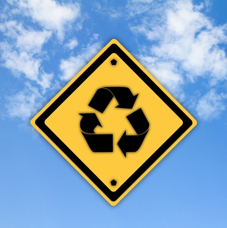 Recycle symbol sign on beautiful sky background. Stock Photo - 13012787