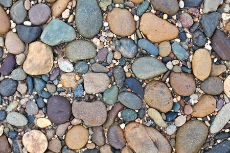 Various pebble stones texture Stock Photo