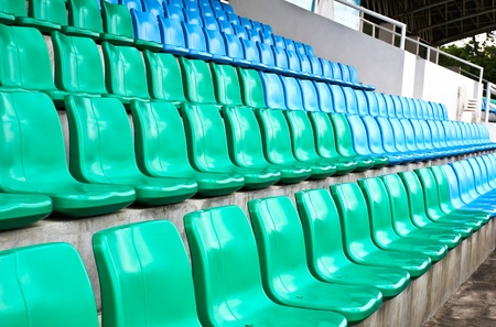 Green and blue stadium seats. Stock Photo - 13823016