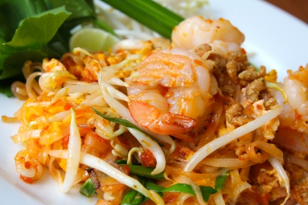 Thai food, stir-fried rice noodles (Pad Thai).