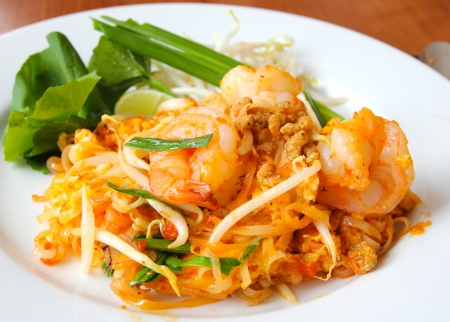 Thai food, stir-fried rice noodles (Pad Thai). photo