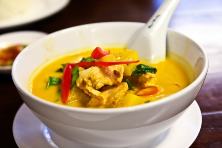 Chicken curry with pineapples.