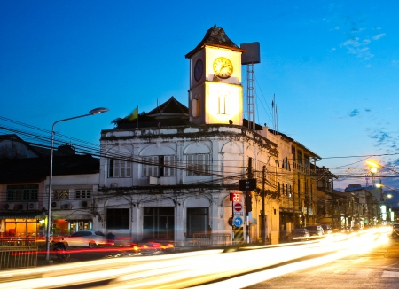 Old building in Phuket town twilight, Thailand. photo