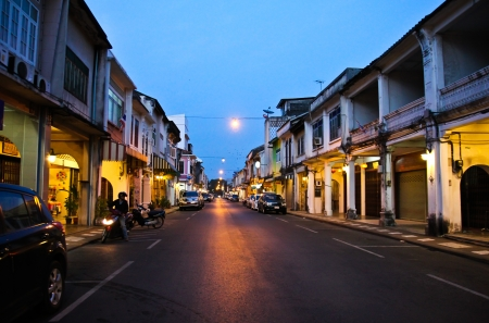 PHUKET, THAILAND - Jul 28: The street night scene of China Town in Phuket, Thailand on July 28, 2012. China town in Phuket Island is one of the oldest Chinese communities in Southeast of Asia.