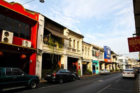 PHUKET, THAILAND - Jul 28: The street scene of China Town in Phuket, Thailand on July 28, 2012. China town in Phuket Island is one of the oldest Chinese communities in Southeast of Asia.