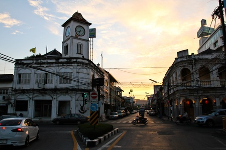 PHUKET, THAILAND - Jul 29: Old buildings on crossroad in Phuket Town, Thailand on July 29, 2012. China town in phuket town is one of the most hitorical Chinese communities in south east of Asia.