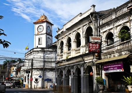 PHUKET, THAILAND - Jul 30: Old buildings on crossroad in Phuket Town, Thailand on July 30, 2012. China town in phuket town is one of the most hitorical Chinese communities in south east of Asia.