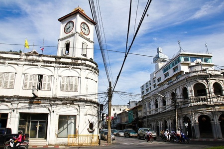 PHUKET, THAILAND - Jul 30: Old buildings on crossroad in Phuket Town, Thailand on July 30, 2012. China town in phuket town is one of the most hitorical Chinese communities in south east of Asia. Editorial