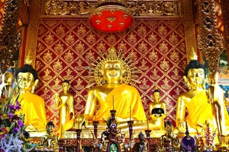 awakened: golden buddha image, take from Chiangrai province, Thailand Editorial