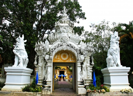wicket gate: Gate of temple at Wat Phra Singh,Chiangrai province of Thailand.