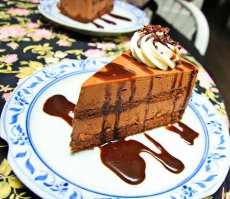 porcion de torta: Trozo de pastel de chocolate moose