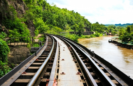 forest railway: Dead railway beside cliff, along Kwai river in Thailand