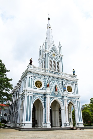 White church in Samut Songkhram, Thailand. photo