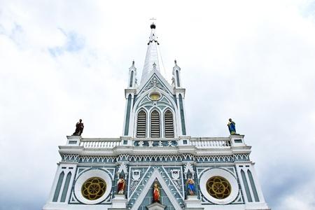 White church in Samut Songkhram, Thailand.