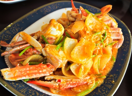 Thai cuisine,Fried crab with curry powder