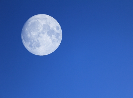 Big moon in the night blue sky. photo