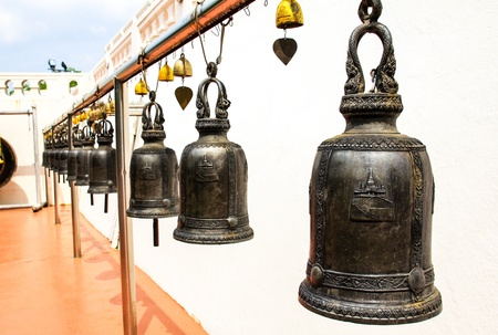 Temple bells hanged for everyone to ringed them for their own fortune at Golden Mount temple, Bangkok, Thailand. Stock Photo - 16029218