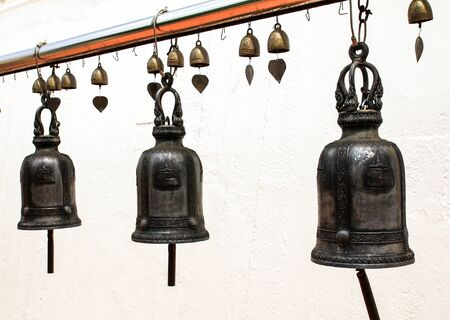 Temple bells hanged for everyone to ringed them for their own fortune at Golden Mount temple, Bangkok, Thailand. Stock Photo - 16029217