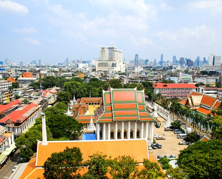 aerial view of Bangkok from Golden Mount and part of Wat Saket, Bangkok, Thailand Stock Photo - 16029227