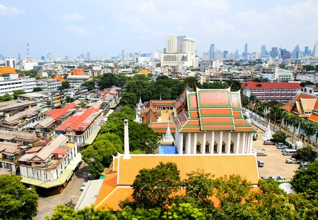 aerial view of Bangkok from Golden Mount and part of Wat Saket, Bangkok, Thailand Stock Photo - 16029245