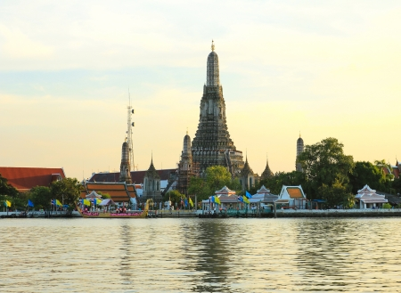 Wat Arun, the Temple of Dawn, stands on the Chao Phraya river in Bangkok Thailand Stock Photo - 16029265