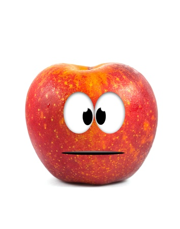 Funny fruit character Red Apple on white background Stock Photo - 16194863