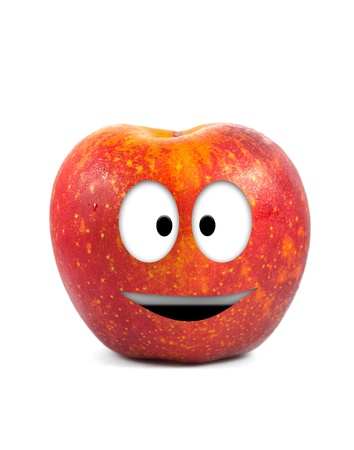 Funny fruit character Red Apple on white background Stock Photo - 16194861