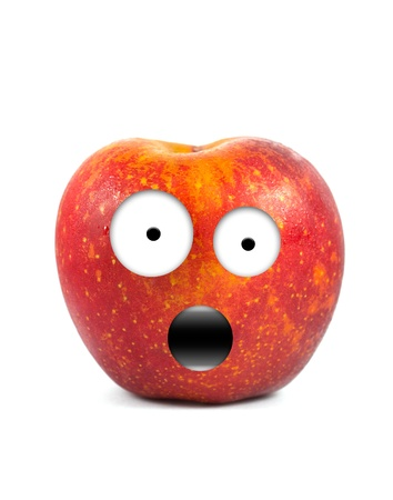 downcast: Funny fruit character Red Apple on white background