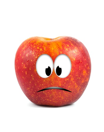 Funny fruit character Red Apple on white background Stock Photo - 16194865