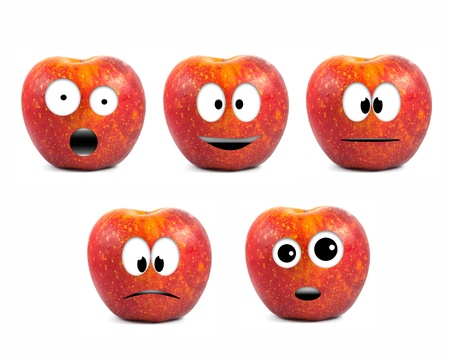 Funny fruit character Red Apples on white background photo