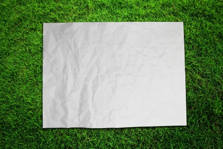 Paper on green grass field Stock Photo - 16373895