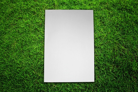 Paper on green grass field Stock Photo - 16373896