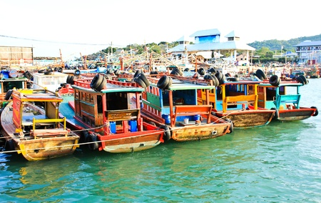 Fisher boat in koh Sichang harbor , Chonburi ,Thailand.