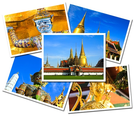 Collage of Wat Phra Kaew Grand Palace, Bangkok , Thailand postcards isolated on white background