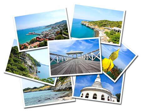 Collage of Sichang Islands ,Chonburi, Thailand postcards isolated on white background photo