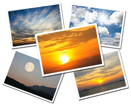 Collage of Sky postcards isolated on white background Stock Photo - 17474513