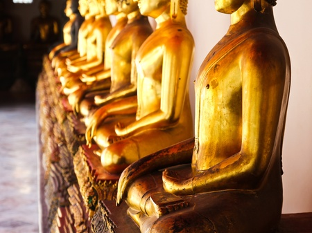 sequential: Buddha in Wat Pho Temple sequential nicely in Bangkok, Thailand.