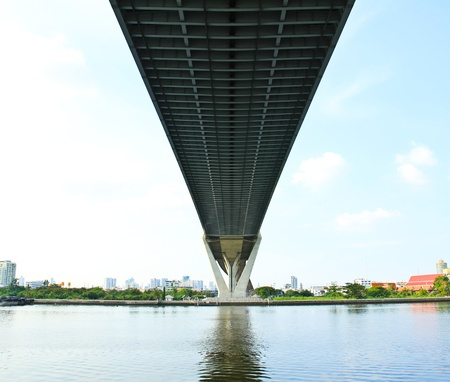 Under the suspension bridge of industrial ring road photo