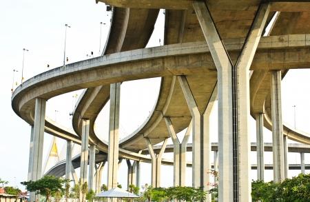 Elevated expressway. The curve of suspension bridge, Thailand. 版權商用圖片