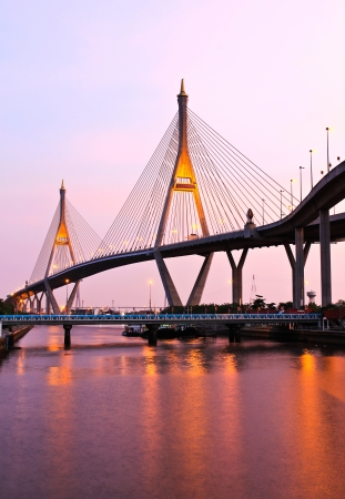 Bhumibol Bridge under twilight, Bangkok, Thailand photo
