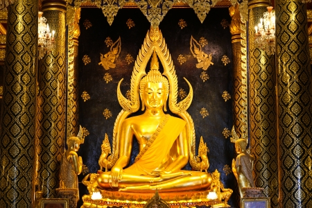 Phra Buddha Chinnarat at Phra Si Rattana Mahathat temple ,Phitsanulok Province, Thailand. ( Temple open to public to watch. Allowed to take photos in the temple. no restriction in copy or use.) Stock Photo