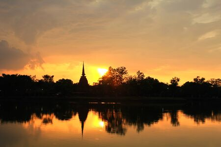Sukhothai Historical Park at sunset, Sukhothai Province, Thailand photo