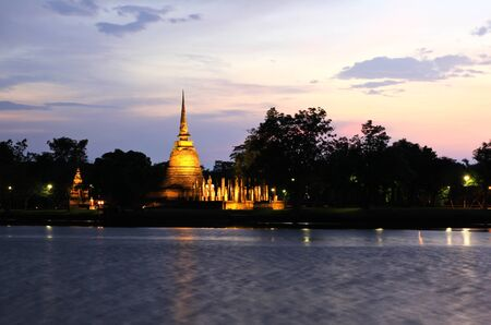 Sukhothai historical park at twilight, the old town of Thailand in 800 year ago photo