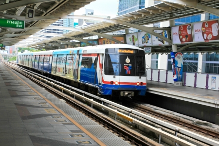 BANGKOK - JUNE 17: A BTS Skytrain at a station in the city on June 17, 2013 in Bangkok, Thailand. Each train of the mass transport rail network can carry over 1,000 passengers.