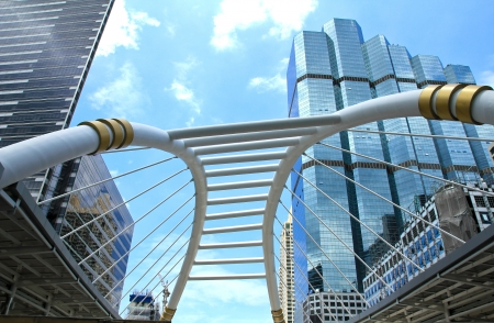 Flyover to walk across the intersection and link between the sky train and the rapid bus transit in Bangkok