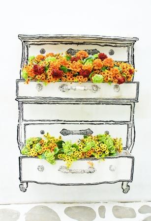 D�coration fleur artificielle sur le mur