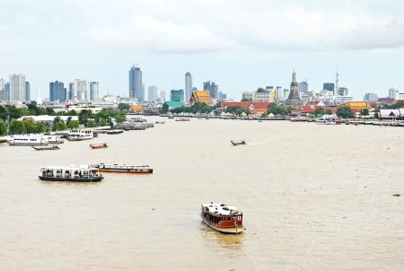 Aerial view of Bangkok city with Chao Phraya river Stock Photo
