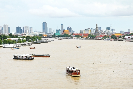 phraya: Vista a�rea de la ciudad de Bangkok en el r�o Chao Phraya